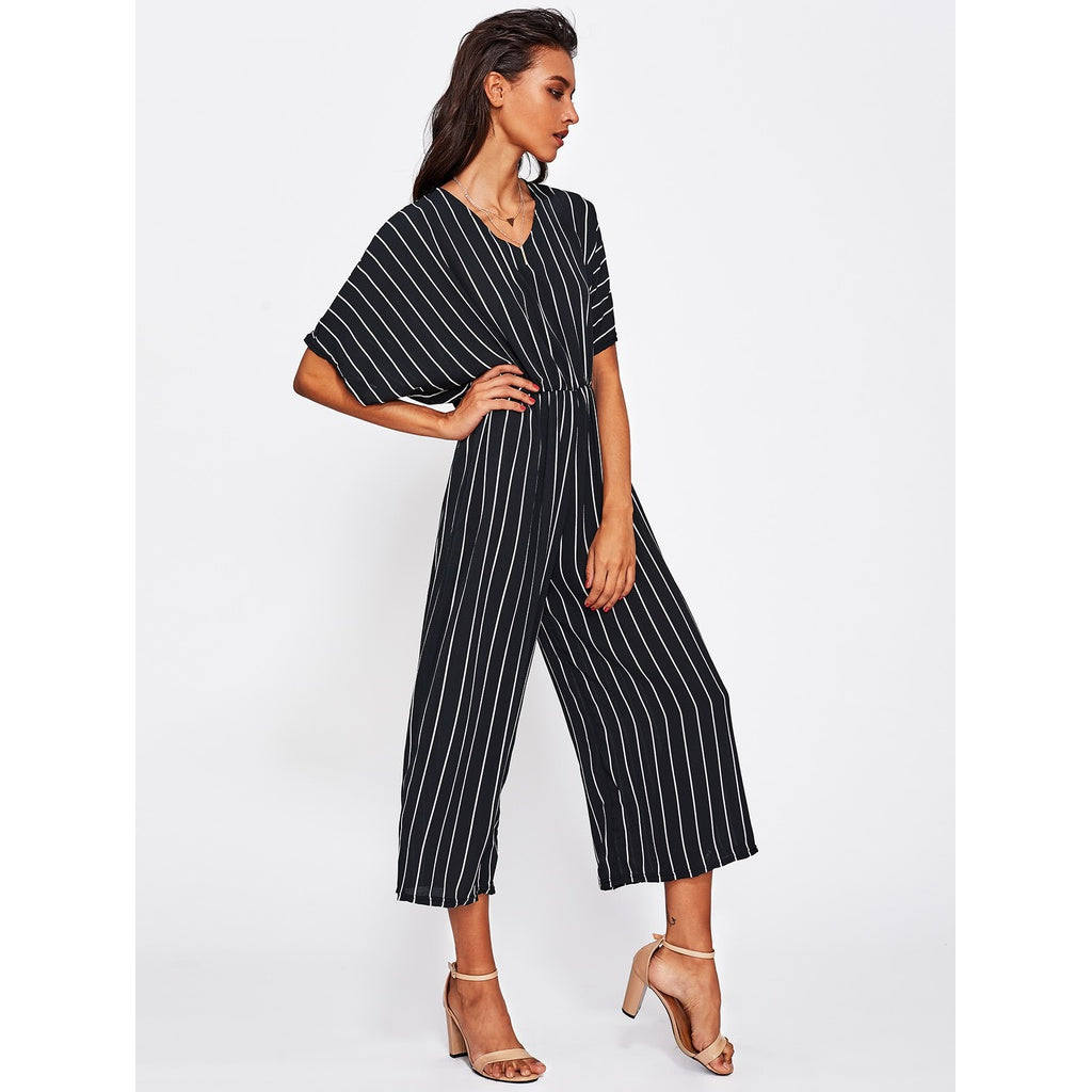 9b382cfcd5 ... Overlap Tie Back Vertical Striped Wide Leg Jumpsuit BLACK AND WHITE ...