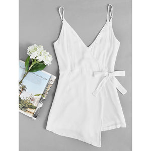 acf456c3a00 Surplice Knot Side Pleated Cami Romper