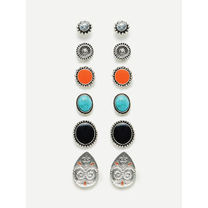 Contrast Design Round Stud Earring Set