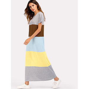 Color Block Short Sleeve Dress Multi