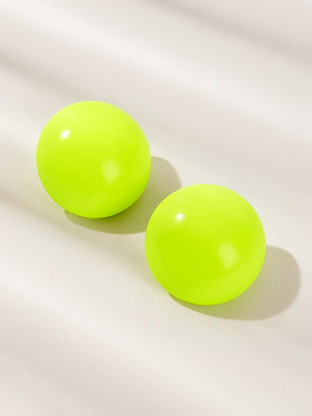 Round Neon Yellow Stud Earrings 1pair