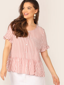 Plus Buttoned Half Placket Striped Peplum Top