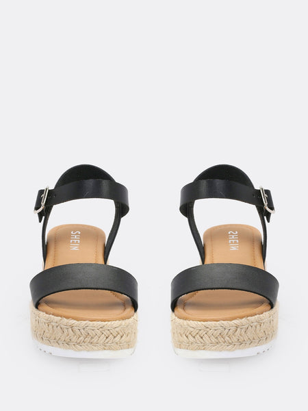 Single Band Espadrille Platform Wedge Sandals