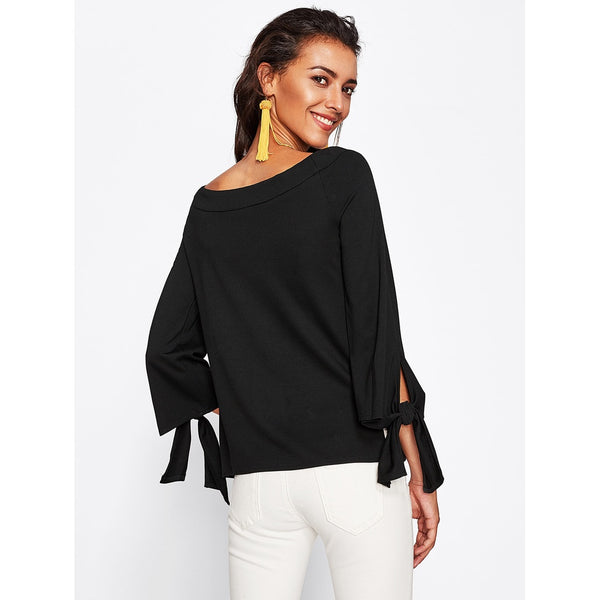 Boat Neckline Knot Detail Top BLACK