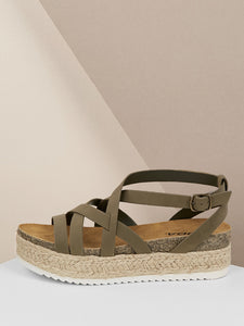 Criss Cross Gladiator Jute Flatform Sandals