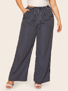 Plus Striped Drawstring Waist Wide Leg Pants
