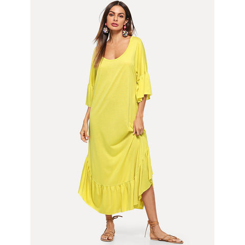 Ruffle Hem Bell Sleeve Solid Dress
