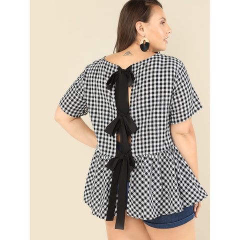 Plus Bow Detail Back Plaid Smock Top