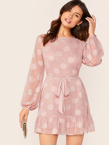 Split Back Lantern Sleeve Belted Textured Dress