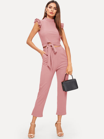 Contrast Ruffle Cuff Tie Front Top With Pants