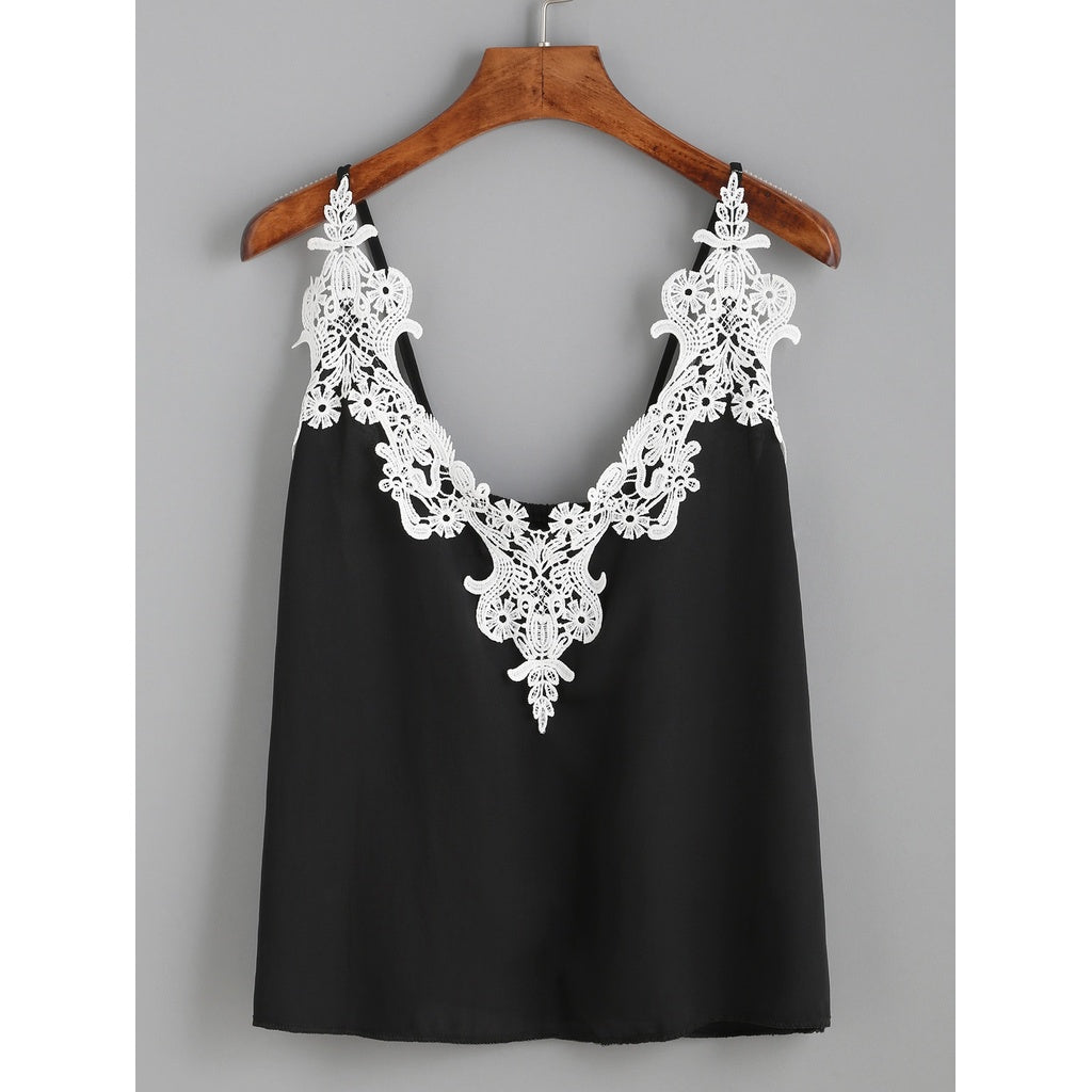 Embroidered Lace Applique Cami Top - Anabella's