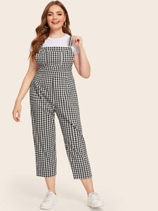 Plus Gingham Print Straps Jumpsuit