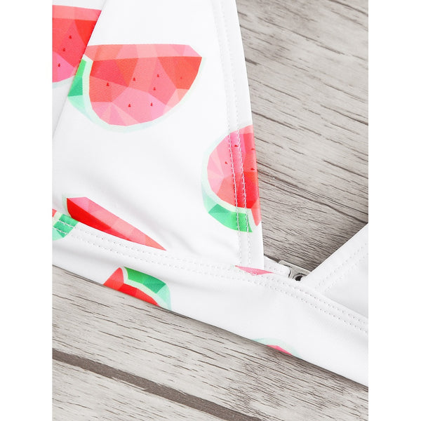 Allover Watermelon Print Bikini Set