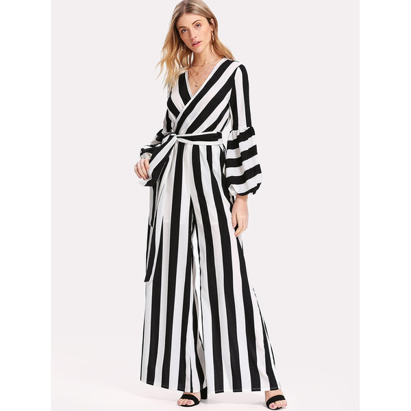 Bishop Sleeve Striped Wrap Jumpsuit