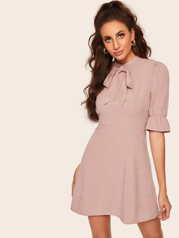 Ruffle Trim Bow Front Fit & Flare Dress