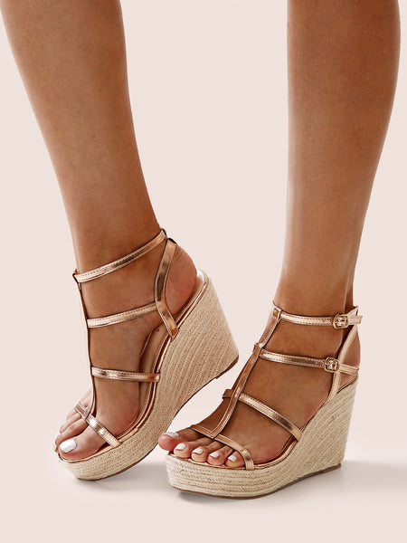 Metallic Ankle Strap Espadrille Wedges