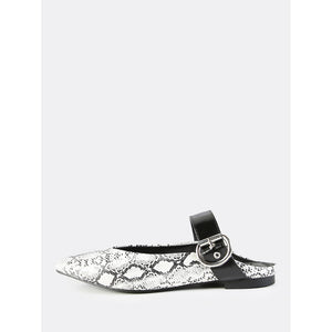 Backless Point Toe Buckle Flats SNAKE - Anabella's