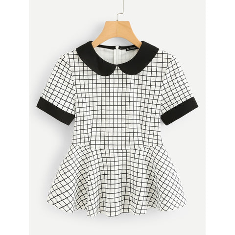 Contrast Cuff And Collar Grid Peplum Top