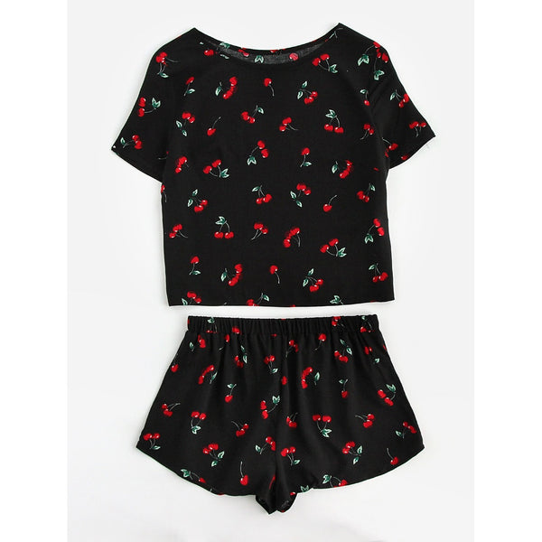 Cherry Print Top And Shorts Pajama Set MULTI