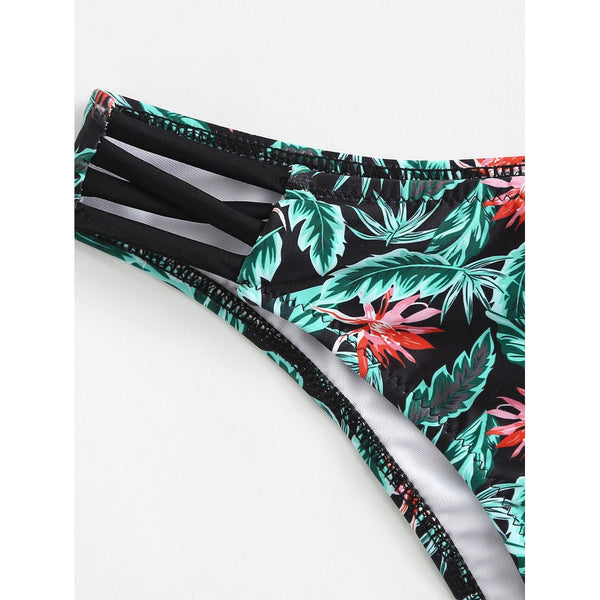 Tropical Print Chevron Bikini Set