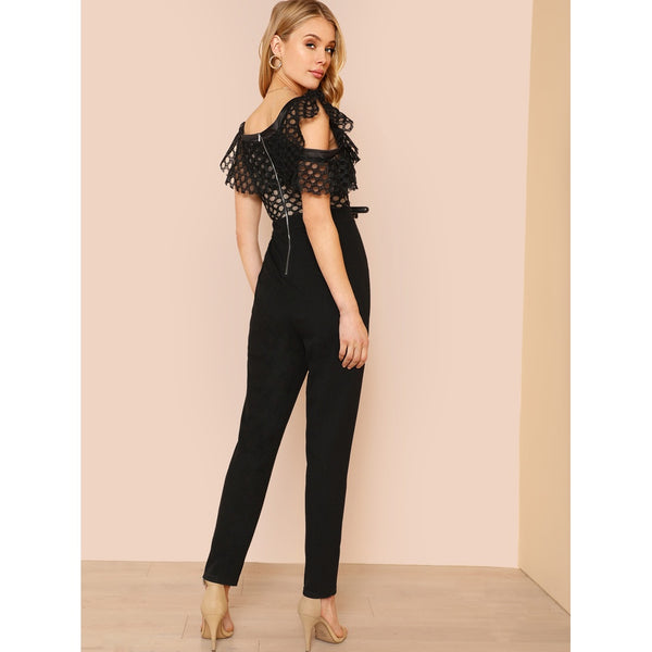 Asymmetrical Neck Circle Cut Flounce Jumpsuit