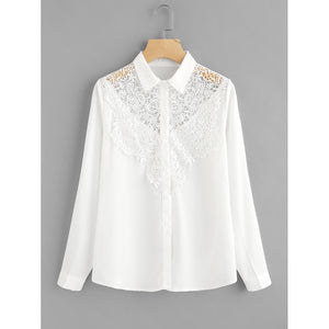 Hollow Out Crochet Panel Shirt White