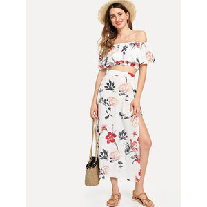 Bardot Floral Print Crop Top With Slit Side Skirt MULTICOLOR