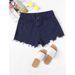 Frayed Hem Denim Shorts Navy