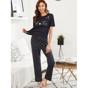 Cartoon Print Top And Polka Dot Pants Pajama Set