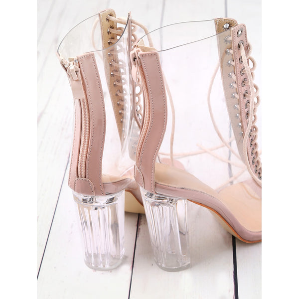 Lace Up Zipper Back Transparent Heels PINK - Anabella's