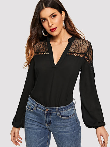Mesh Insert Eyelet Detail V Neck Top