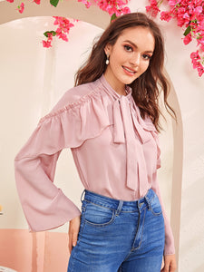 Ruffle Trim Frill Detail Tie Neck Top