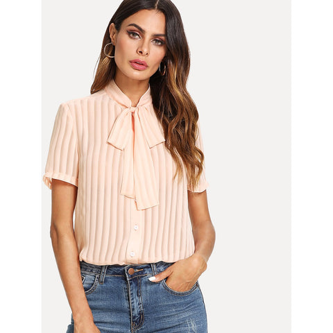 Tie Neck Button Up Pleated Blouse Pink