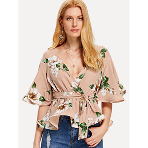 Bell Sleeve Belted Floral Wrap Top Multicolor