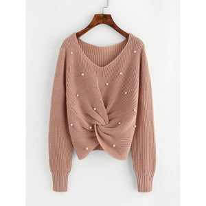 Pearl Beaded Detail Twist Sweater Pink