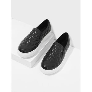 Quilted Slip On Sneakers Black