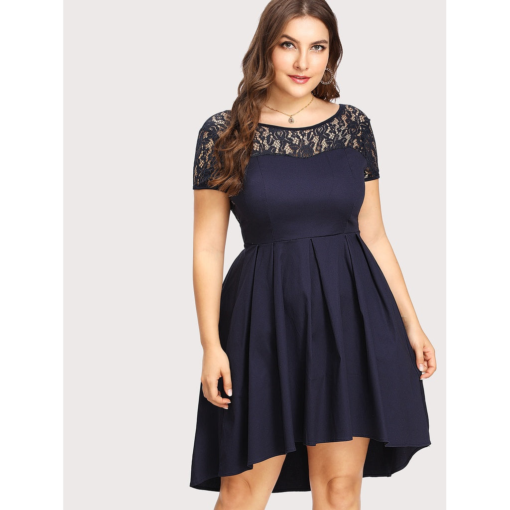 Contrast Lace V Back Dip Hem Dress - Anabella's