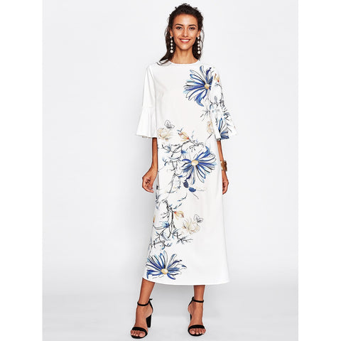 Trumpet Sleeve Flower Print Dress