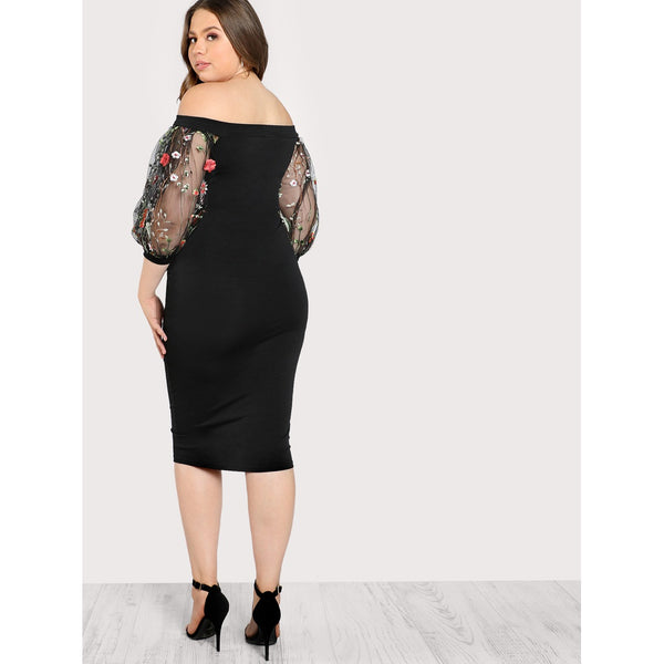 Bardot Pencil Dress With Embroidered Mesh Sleeve - Anabella's