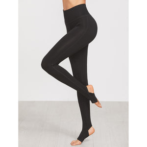 Wide Waistband Topstitch Stirrup Leggings