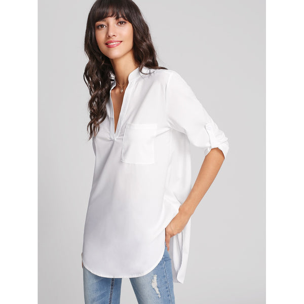 Rolled Sleeve Curved Hem Blouse - Anabella's