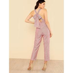 Bow Tie Back Striped Sweetheart Jumpsuit RED