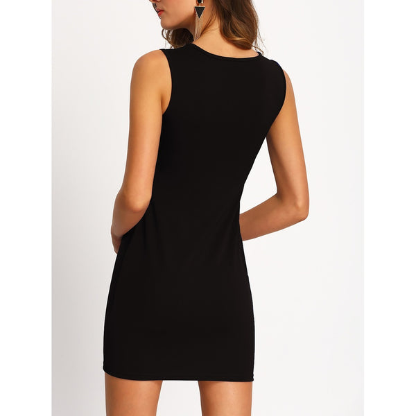 Black Cut Out Zipper Bodycon Dress