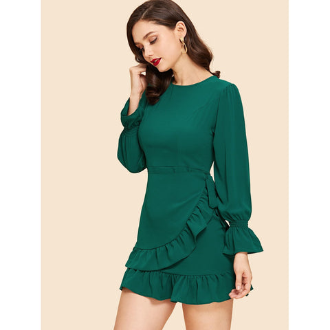Ruffle Hem Solid Knot Dress