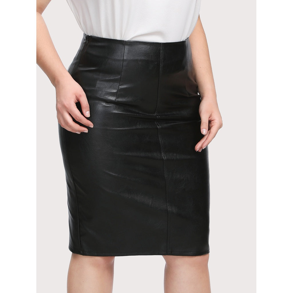 Faux Leather Pencil Skirt - Anabella's
