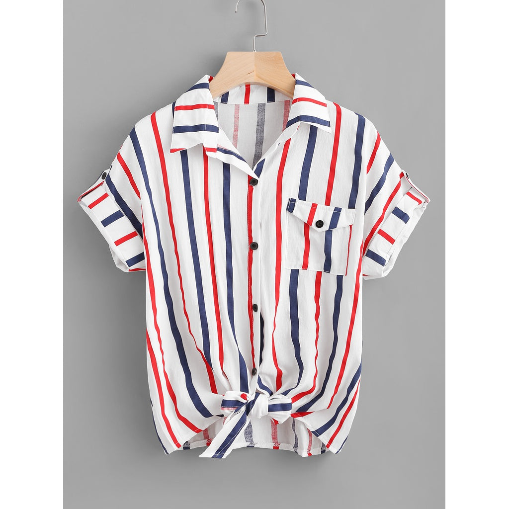 e2158c34bdd52 Striped Knot Front Cuffed Shirt With Chest Pocket Multi ...