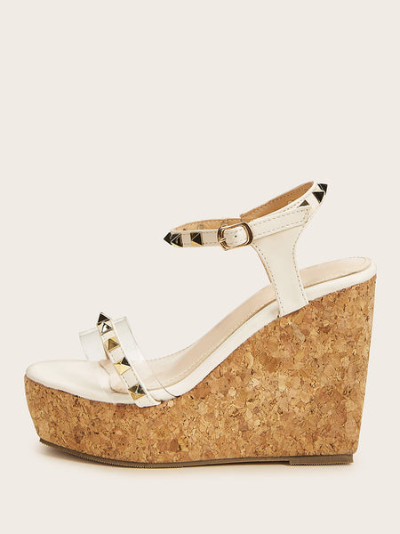 Studded Decor Ankle Strap Cork Wedges
