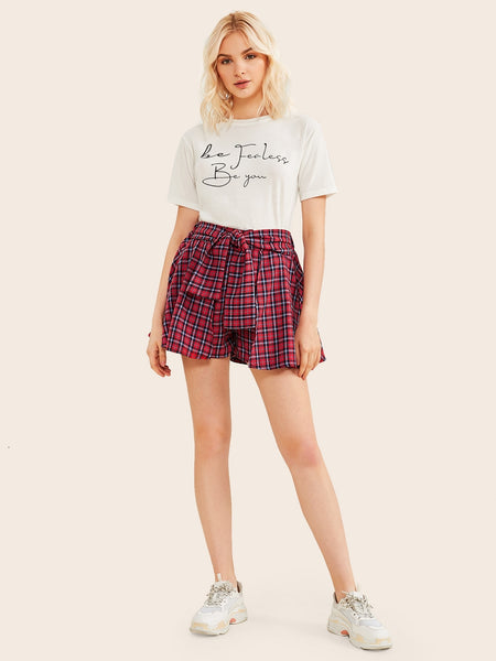 Plaid Tie Front Culotte Shorts