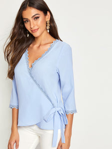 Solid Lace Trim Wrap Knotted Blouse