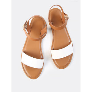 Two Tone PU Open Toe Sandals